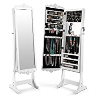 Cozzine Jewellery Cabinet White, Free Standing Lockable Full Length Mirrored Jewellery Cabinet Armoire with Extra Wide Mirror LED Lighting, Large Capacity (41 x 36 x 167 cm, White)