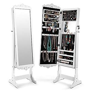 Cozzine Schmuckschrank Weiß, Spiegelschrank Standspiegel Schmuckregal mit extra breiter Spiegel LED Beleuchtung (41 x 36 x 167 cm, Weiß)