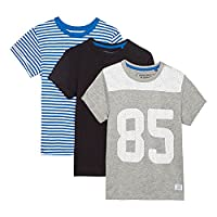 Bluezoo Kids Pack Of Three Boys' Assorted Plain And Patterned T-Shirts Age 9-10