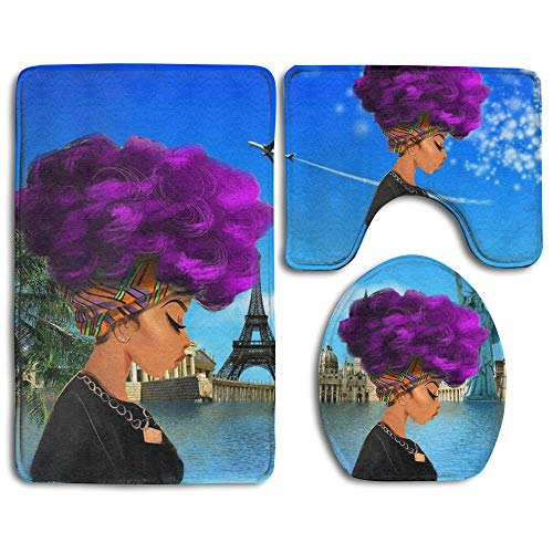 GDESFR Bodenmatte Afro Sexy Lady African American Black Women Girl with Purple Hair Skidproof Toilet Seat Cover Bath Mat Lid Cover Eiffel Tower Blue