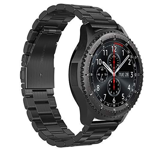GeeRic Cinturino Compatibile per Samsung Galaxy Watch 46MM/Gear S3, Braccialetto in Acciaio Inox Cinturino Moda Tre Fibbia...