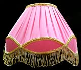 "RDC 12"" Round Pleated Pink with Golden Lace Border with Frills Lamp Shade for Table Lamp or Floor Lamp"