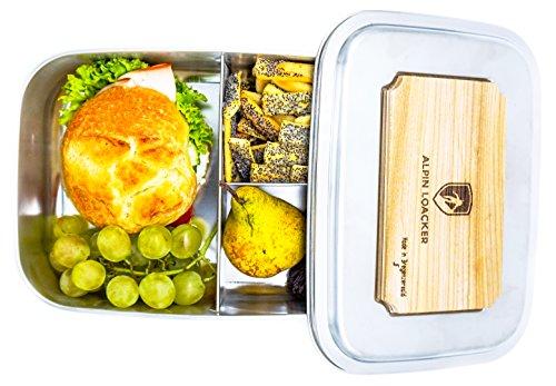 Edelstahl LunchBox Groß 1800ml von ALPIN LOACKER mit Schneidbrett - Brotdose, Bento Box | mit Fächern, Trennwand | Die große Brotbox zum Wandern, Reisen, Klettern. (Edelstahl Brot Box)