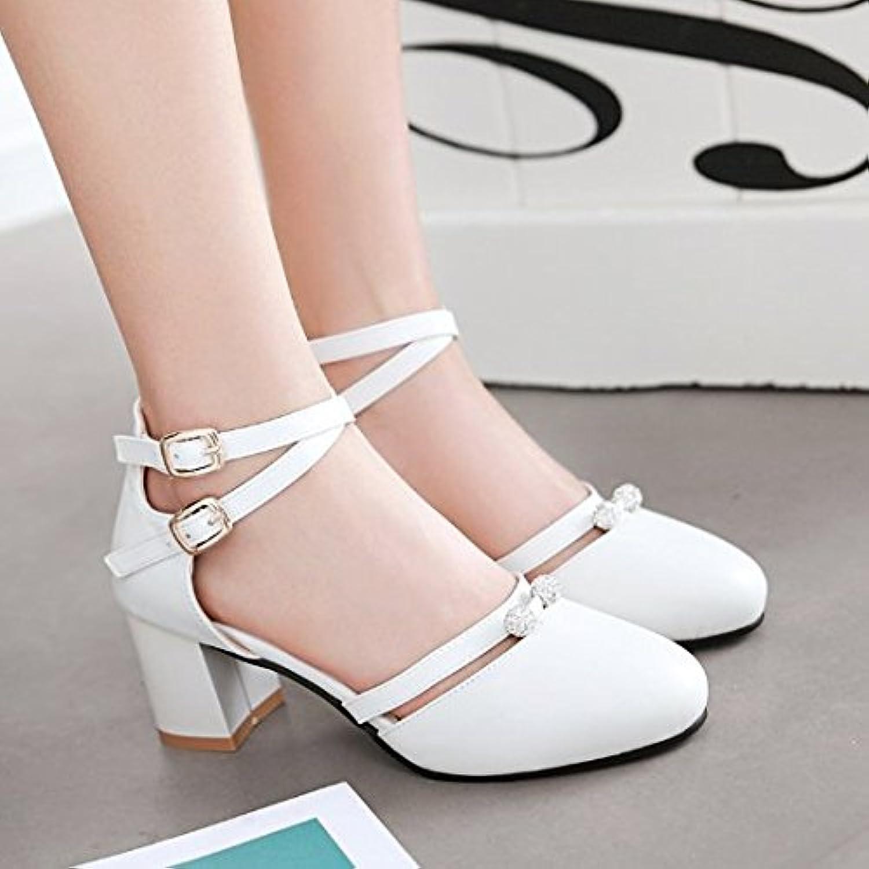 ZHUDJ La Princesa Verano Sandalias Bolso Con Hebilla Zapatos Redondas Huecas, Señoras Zapatos Todo-Match Viento...