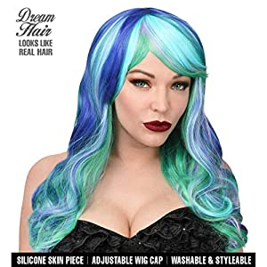 WIDMANN 02219Leia Cosplay Dream Hair peluca, mujer, Azul/Verde