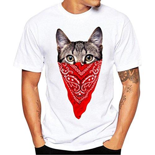 Ohrringe Xxl Männer Für (Kurzarm Tee Sommer Herren, Sunday Männer Druck Tees Shirt Kurzarm T Shirt Bluse Katzen Druck S~XXXXL (XXL, C))