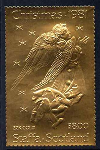 Staffa 1981 Christmas £8 value (Angel after Durer) in 22 carat gold foil u/m RELIGION ARTS DURER...