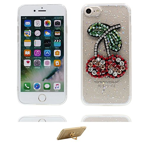 Custodia iPhone 7 Plus, Silicone trasparente Case iPhone 7 Plus copertura Cover e ring supporto Shell Graffi Resistenti - 3D coniglio Cute Color - 6