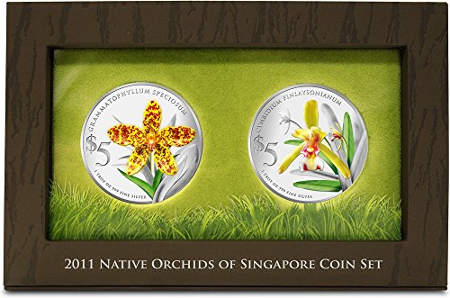 Power Coin Orchids Native 2 Silber Proof Münze Set 5$ Singapore 2011 -