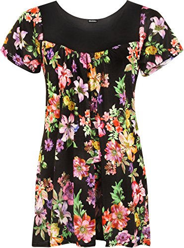 WearAll - Damen Übergröße Floral-Blumen-Druck Scoop Neck Short Sleeve Top Tunika - Schwarz Lila - 52-54 (Top Tunika Scoop)