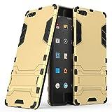 Happy-L Hülle Für Smartisan U1 Pro (2017), 2-in-1-Eisenrüstung Tough Style Hybrid-Zweischichtrüstung Defender PC + TPU Hartschalen-Schutzhülle mit stoßsicherem Standfuß (Farbe : Gold)