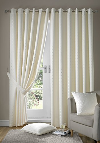 Madison Eyelet Curtains Cream Ivory 66×90