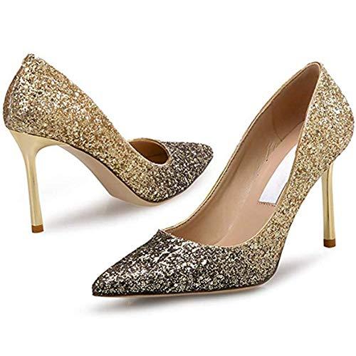 5a185c8646dbe FLORYDAY Damen Pumps High Heels Glitter Pumps Glitter Pumps Geschlossene  Zehen Stilettos Spitz Hochzeitsschuhe Party Arbeit