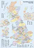 HUGE LAMINATED / ENCAPSULATED Political Map Of The UK British Isles England Scotland Ireland & Wales GB Road Map POSTER Includes Inner London Boroughs Measures 36 x 24 inches ( 91.5 x 61 cm )