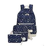 Schulrucksack Canvas Jugendlich Coole Schulrucksäcke Schulranzen Schultasche Rucksack Punkte für Schule Mädchen Rucksäcke Damen Schultertasche Meldungstasche Mäppchen Teenager Schulsack Blau