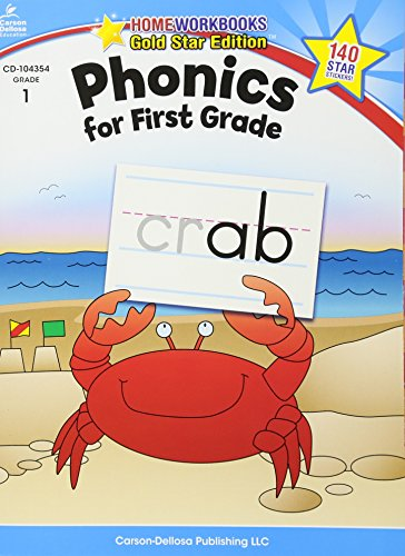 Phonics for First Grade, Grade 1 (Home Workbooks: Gold Star Edition)