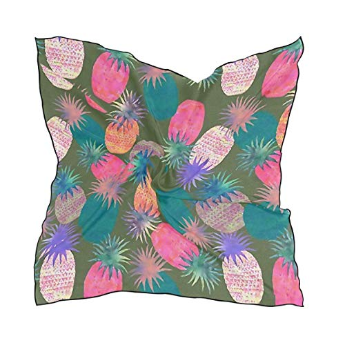 Funkelnde Auto Waschen (Bikofhd Pineapple Color Explosion Square Scarf Silky Feel Polyester Satin Scarf Neckerchief Women Ladies Hair Scarves Bandana)