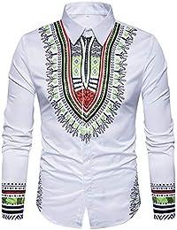Clothes m Camisas de Hombre AlgodóN Casual Slim Hombres Estampado éTnico  Solapa Camisa de Manga Larga Camisa 84cc845f859b