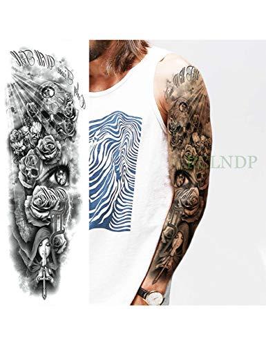 Astty adesivo tatuaggio impermeabile autoadesivo del tatuaggio temporaneo carpa pesce fiore braccio pieno falso tatto flash manica tatoo di grandi dimensioni per le donne degli uomini, nero