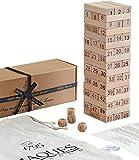 Jaques of London Spiel 2 IN 1 - Spielen und Lernen - Tumble Tower - Klassisches Holzspiel - Unsere Spiele Blöcke Bauen bis zu 1 Meter hoch während des Spiels Trusted Toys und Spiele seit 1795