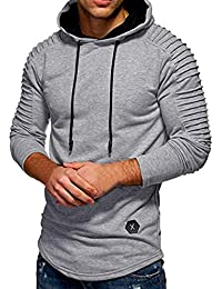 BUSIM Men's Long Sleeved Sweater Autumn Winter Round Neck Slim Solid Color Striped Pleated Raglan Sleeves Hooded...