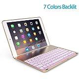 OBOR Aluminiumlegierung iPad Pro 9.7 Tastaturkoffer - 7 Farben Hintergrundbeleuchtung Flip Wireless Bluetooth Tastatur Schutzhülle für iPad Pro 9.7'' und iPad Air 2 (Golden)