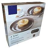 4 Frühstücksteller Taube (Braun) Teller Porzellan Kuchenteller