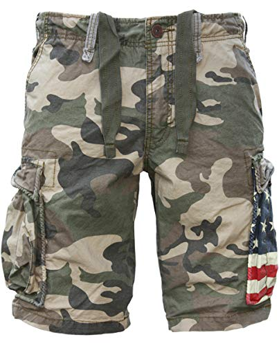 Army Green Cargo-shorts (JET LAG Cargo Shorts SO16-22 army green camouflage USA, Größe:W38)