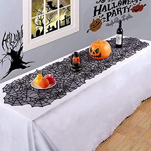 Sunjing Halloween-Dekorationen Spider Web Gothic Spitze Tischtuch Cobweb Table Cover Für Weihnachten Und Andere Party-Dekor Spitze Schwarzen Tisch Banner 46 * 183Cm 1 Stück,Black,M (Spider Dekorationen Für Halloween)