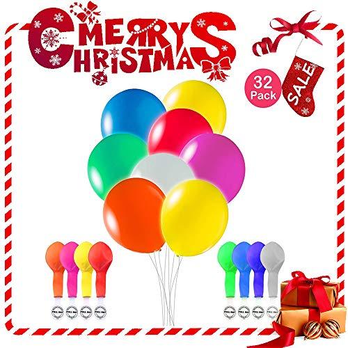 Leuchtballons LED 32 Stück Mischfarben Glow in The Dark Luftballons mit Blitzlichtern für Geburtstag, Party und Hochzeit Dekorationen, mit Luft oder Helium aufblasen (8 color)