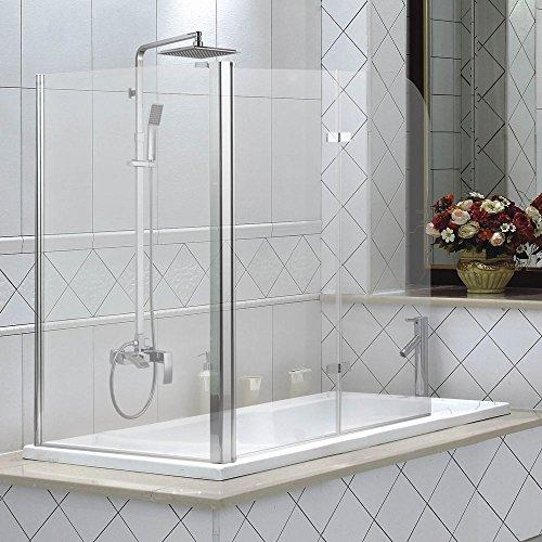 3teilige Glas Badewannen Duschwand Faltwand Badewannenaufsatz Duschabtrennung Aluminium Sanlingo