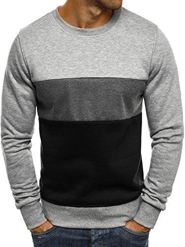 OZONEE Herren Sweatshirt Langarmshirt Pullover Basic Longsleeve J. STYLE J36 M Grau