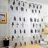 Windows Vorhänge, squarex 1PCS Vines Blätter Tüll Tür Fenster Vorhang Tuch Panel Sheer Schal Volants, grau, Size: 200X100cm