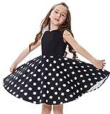 GRACE KARIN elegant Maedchen Kleid Polka dot Kleid Schule Kleid 9-10 Jahre CL10600-1