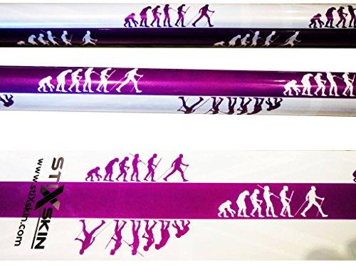 Stixskin 'Nordic Evolution Man' 2 Vinyle Wraps pour marche nordique, randonnée, Trekking, ski et marche personnalisée Aid clés | Designs pour hommes, femmes et enfants | Leki, Exel, Gabel, Fizan, Swix |
