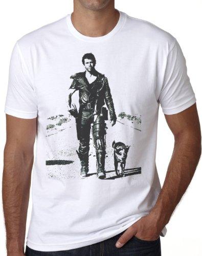 OM3® - MAD MAX - T-Shirt Hollywood Action SciFi Road Crash Cult Movie Music USA, XL, Weiß