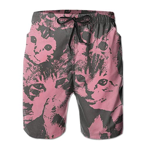 Mens Cute Cat Leichte Badehose Quick Dry Swimming Trucks für Männer Big und Tall Beach Shorts - Big Tall And Männer-bademode