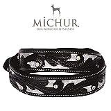 MICHUR Alfredo Hundehalsband Leder, Lederhalsband Hund, Halsband, Schwarz Silber, Leder, mit gestanzten Blumenmuster und Strassstein, in verschiedenen Größen erhältlich