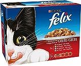 Felix Emincés en gelée Repas pour chat adulte Thon, Boeuf Saumon, Poulet 12 x 100 g - Lot de 6...