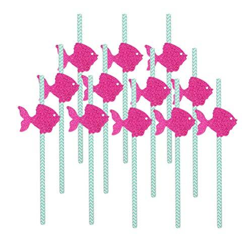 Amosfun 12 stücke Nautical Glitter Striped Party Papierstrohe Meerestiere Einweg Trinkhalme Für Nautical Beach Coastal Themengeburtstag Hochzeit Baby Shower Party Supplies Rose Rot