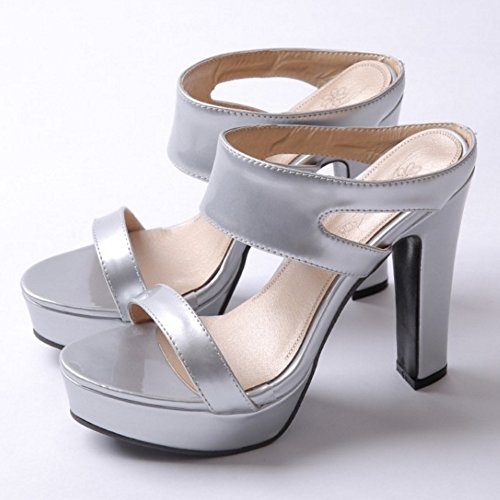 JOJONUNU Femmes Chunky Heel Sandales silver