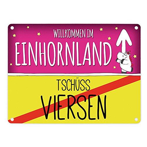 Willkommen im Einhornland - Tschüss Viersen Einhorn Metallschild