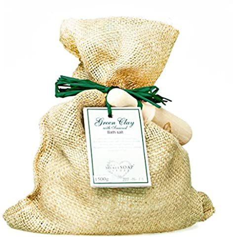Revitalising Sal de baño - Bath salts with green clay and seaweed (1500 g) in a jute sack with wooden scoop. Unique