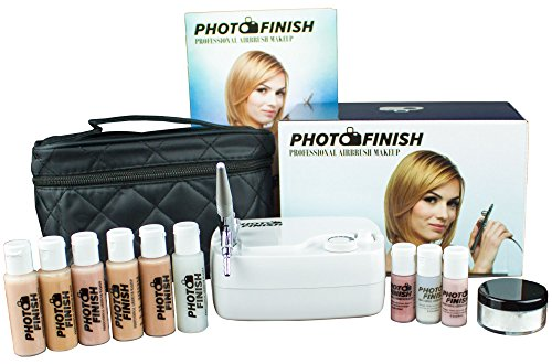 Advanced Skin Care Photo Finish Professional Airbrush Makeup System Kit/Fair to Medium Shades 5pc Foundation Set with Blush shimmer & concealer- Chose Matte or Luminous Finish (Luminous- Finish)