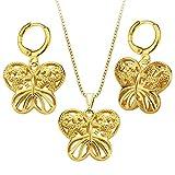MESE London Collar Mariposa y Pendientes a Juego Bañado en Oro 18K Colgante Vaciado - Elegante Caja de Regalo