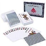 LotFancy LotFancy Wasserdichte Spielkarten Pokerkarten 2 Decks Profi Plastic Playing Cards aus Kunststoff für Texas Holdem Poker, Blackjack, Euchre, Beach-Pool-Party mit Plastikbox
