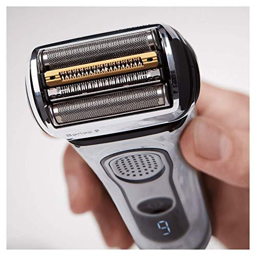 Braun Series 9 9297cc Elektrischer Rasierer, Wet&Dry Elektrorasierer Herren, mit Reinigungs- und Ladestation, inkl. Leder-Reise-Etui und Aufbewahrungsbeutel, chrom
