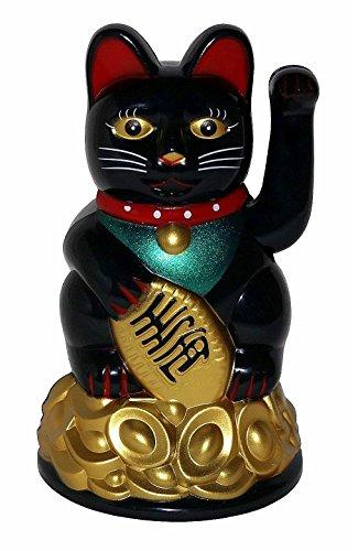 11cm Winkekatze Glückskatze Glücksbringer Maneki Neko Manekineko Feng Shui Deko Glück Figur Winkende Katze Schwarz (Katzen Shui Feng)