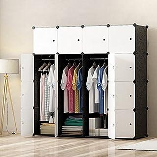 PREMAG Armoire Portable DIY, Penderie avec Portes, Tige Suspendue, Construction Solide pour Vêtements, Chaussures, Accessoires, Noir et Blanc 16 Cubes