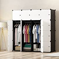 PREMAG Armari de armario portátil DIY, organizador de almacenamiento modular, ropero para ahorrar espacio, cubo más profundo con barra colgante 16 cubos